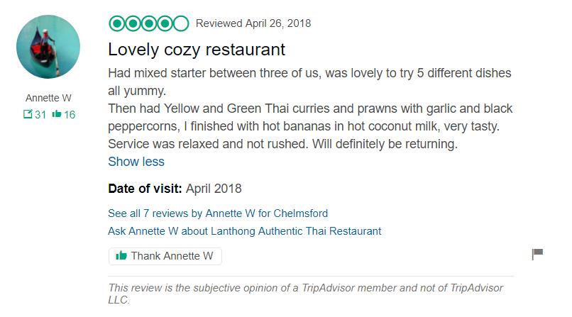 Review by Annette W - LanthongRestaurant